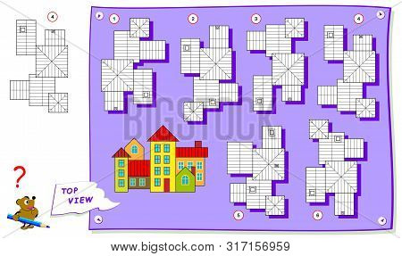 Logic Puzzle Game For Kids. Need To Find Correct Top View Of Buildings. Worksheet For School Textboo