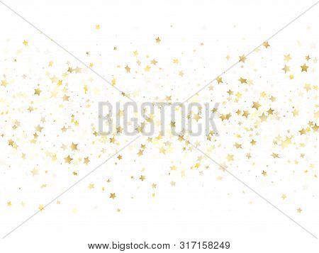 Magic Gold Sparkle Texture Vector Star Background. Decorative Gold Falling Magic Stars On White Back