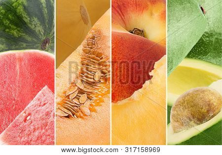 Photo Collage From Different Type Of Organic Fruits