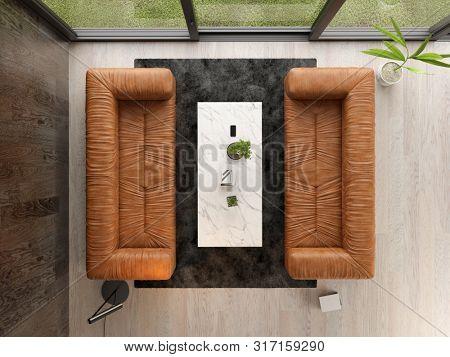 Interior of modern living room top view 3 D rendering