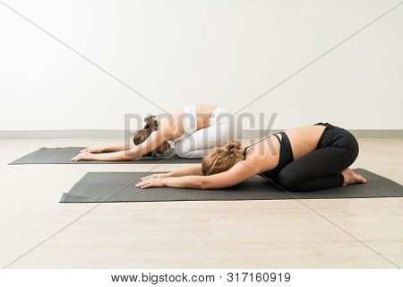 Young Females Practicing Balasana On Mats At Yoga Studio