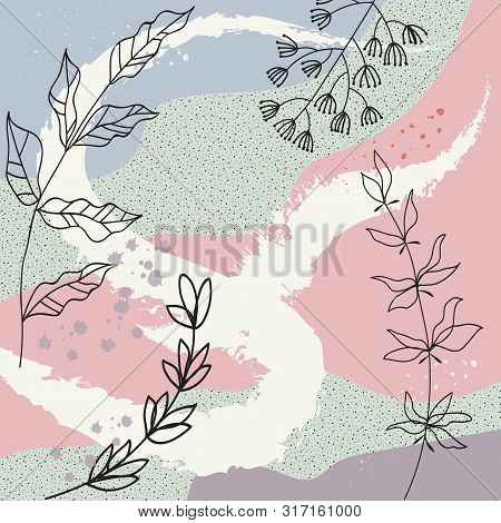 Creative Universal Aesthetic Floral Card, Hand Drawn Abstract Shapes Texture. Modern Trendy Graphic