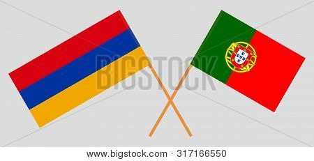 Armenia And Portugal. Crossed Armenian And Portuguese Flags. Official Colors. Correct Proportion. Ve