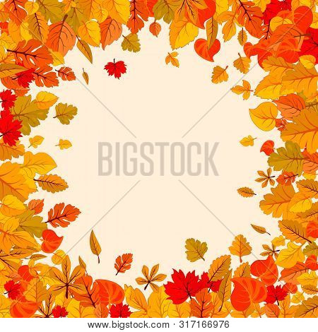 Autumn Leaves Fall Isolated Background. Golden Autumn Poster Template. Vector Illustration