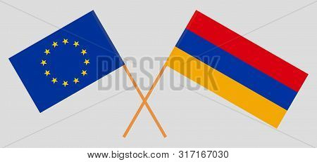 Armenia And Eu. Crossed Armenian And European Flags. Official Colors. Correct Proportion. Vector Ill
