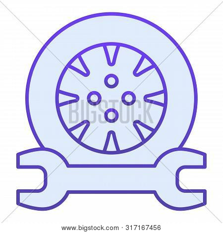 Tire Service Flat Icon. Tire Fitting Blue Icons In Trendy Flat Style. Auto Wheel And Wrench Gradient