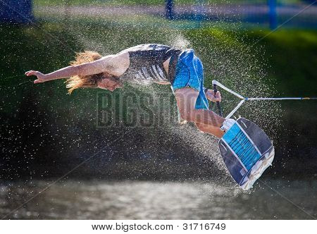 MELBOURNE, AUSTRALIA - MARCH 12: Sam Carne in the wakeboard event at the Moomba Masters on March 12, 2012 in Melbourne, Australia