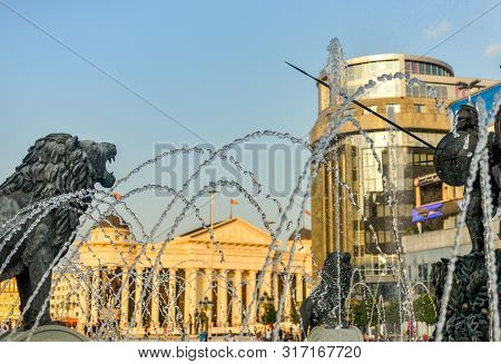 Ancient warriors and lions surround the main fountain,Macedonia square.SKOPJE/NORTH MACEDONIA. poster