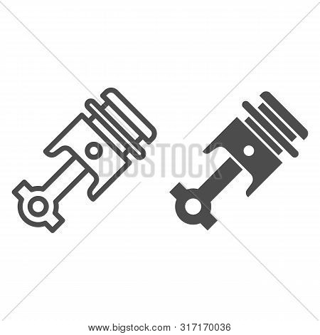 Engine Piston Line And Glyph Icon. Auto Piston Vector Illustration Isolated On White. Car Part Outli