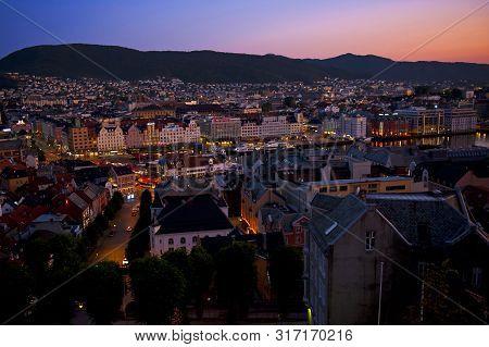 Bergen, Norway - July 26, 2019: Bergen By Night