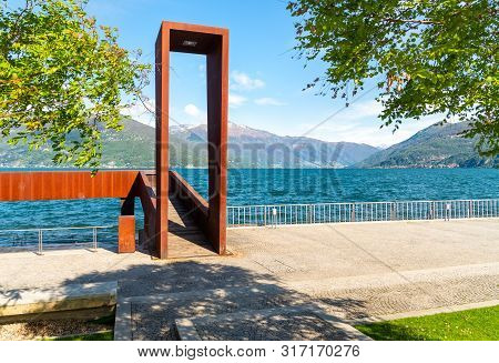 View Of Lake Maggiore From Luino Lakefront Park, Province Of Varese, Italy
