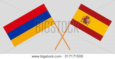 Armenia And Spain. Crossed Armenian And Spanish Flags. Official Colors. Correct Proportion. Vector I