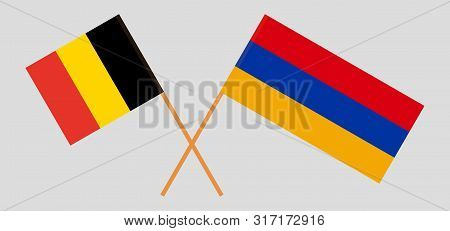 Armenia And Belgium. Armenian And  Belgian Flags. Official Colors. Correct Proportion. Vector Illust