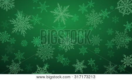 Christmas Background With Various Complex Big And Small Snowflakes In Green Colors