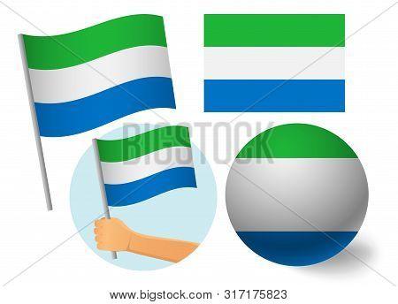 Sierra Leone Flag Icon Set National Flag Of Sierra Leone Vector Illustration