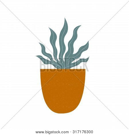 Modern Print In Trendy Earthy Hues With Plant In A Pot