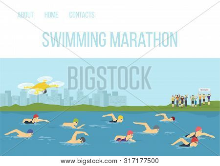 Swimmer Athletes Competition Maraphone In River Vector Cartoon Illustration. Sportsman Swimming Free