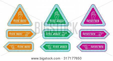 Stickers Direction Signs For Customer Service In Beer Tents At Oktoberfest. Notified Labels With Fin