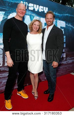 LOS ANGELES - AUG 12: Derek Mears, Virginia Madsen,Ian Ziering at the Premiere Of SyFy's