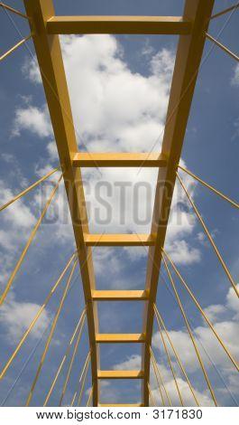 Yellow bridge crossing the Amsterdam-Rijn canal in Utrecht Holland poster
