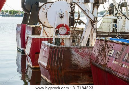 New Bedford, Massachusetts, Usa - August 10, 2019: Commercial Fishing Vessels Jeffrey Scott And Capt