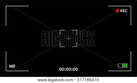 Camera Frame Viewfinder Screen Of Video Recorder Digital Display Interface. Camera Viewfinder. Recor