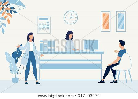 Situation In Hospital Hall At Reception Desk Cartoon. Man Visitor Sitting On Chair Talks To Clinic A