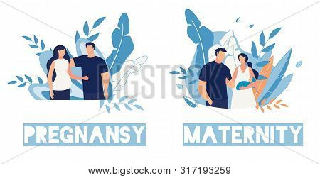 Pregnancy And Maternity Cartoon People Characters Cards Set. Happy Family, Husband And Wife Wait For