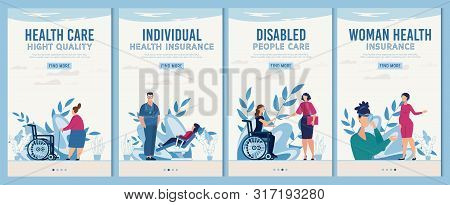 Healthcare And Rehabilitation Mobile Webpages Flat Set. Online Medical Service For Women, Disabled P