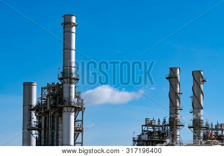 Gas Turbine Electrical Power Plant. Energy For Support Factory In Industrial Estate. Natural Gas Tan
