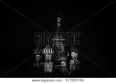 Saint Basil S Cathedral In Red Square At Night, Moscow, Russia. Black And White Photo