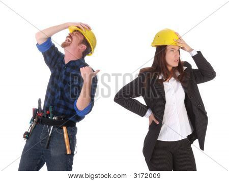 construction worker tittering and angry businesswoman on white background poster