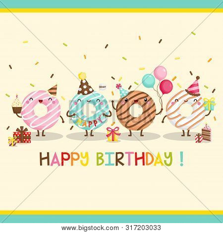 A Cute Card Vector Of Cheerful Donut Celebrating Birthday With Many Gifts And Balloons
