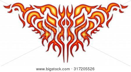 Vehicle Sticker - Burning Flame, Car And Bike Color Vinyl Decals, Isolated On White Background. Hot