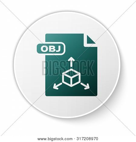 Green Obj File Document. Download Obj Button Icon Isolated On White Background. Obj File Symbol. Whi