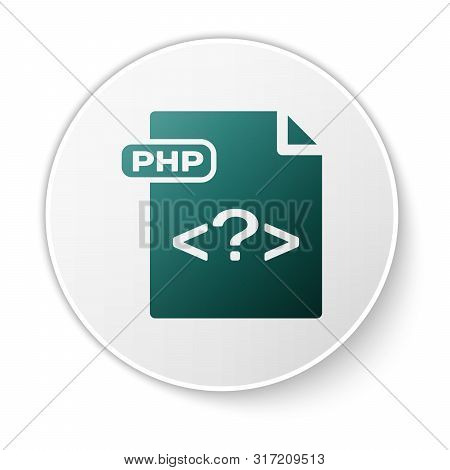 Green Php File Document. Download Php Button Icon Isolated On White Background. Php File Symbol. Whi