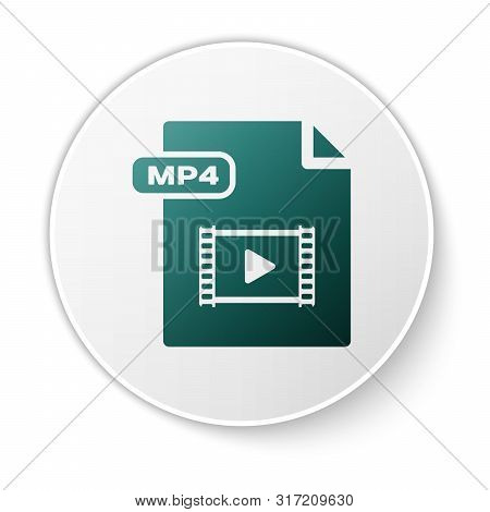 Green Mp4 File Document. Download Mp4 Button Icon Isolated On White Background. Mp4 File Symbol. Whi