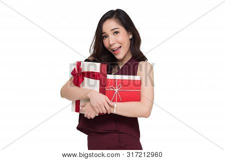 Happy Beautiful Asian Woman Smile With Red Gift Box And Copy Space White Living Room Background. Tee