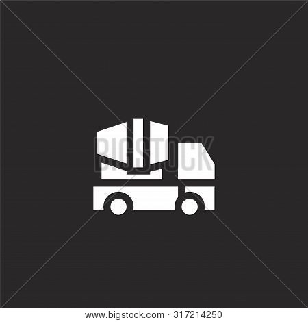 Concrete Truck Icon. Concrete Truck Icon Vector Flat Illustration For Graphic And Web Design Isolate
