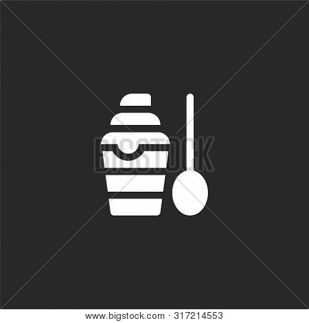 Parfait Icon. Parfait Icon Vector Flat Illustration For Graphic And Web Design Isolated On Black Bac