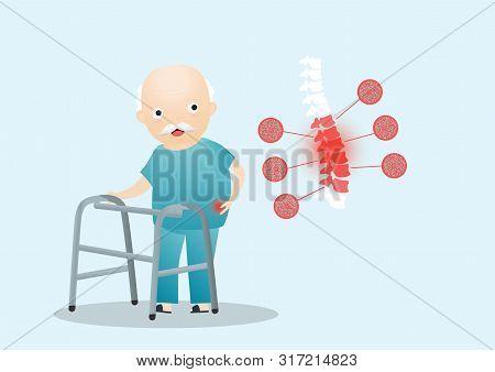 Old Man Grandpa Has Back Pain. Osteoporosis Retirement Suffering Concept. Vector, Cartoon, Illustrat