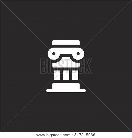 Column Icon. Column Icon Vector Flat Illustration For Graphic And Web Design Isolated On Black Backg