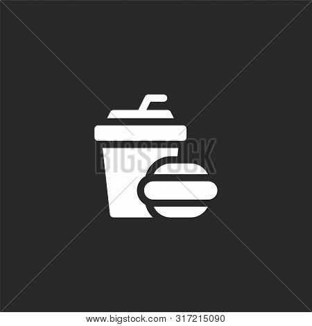 Burger Icon. Burger Icon Vector Flat Illustration For Graphic And Web Design Isolated On Black Backg