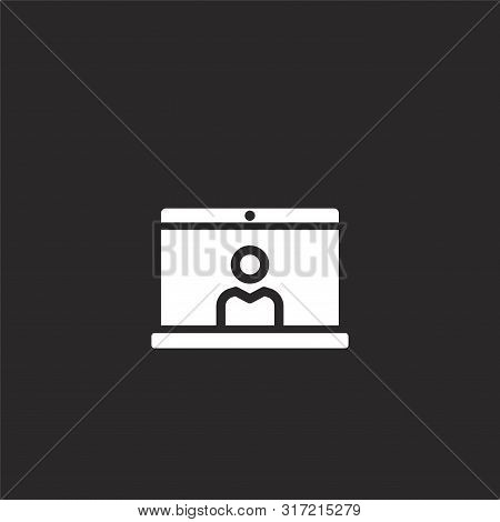 Video Conference Icon. Video Conference Icon Vector Flat Illustration For Graphic And Web Design Iso