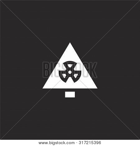 Nuclear Icon. Nuclear Icon Vector Flat Illustration For Graphic And Web Design Isolated On Black Bac