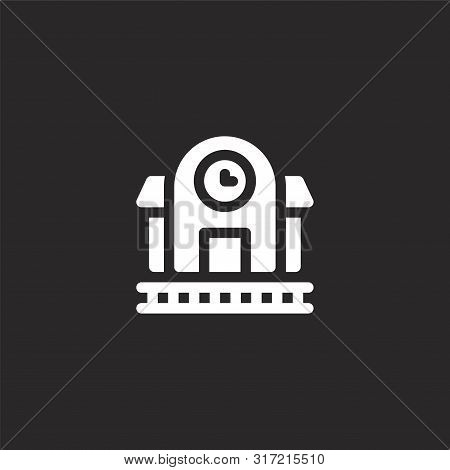Railroad Icon. Railroad Icon Vector Flat Illustration For Graphic And Web Design Isolated On Black B