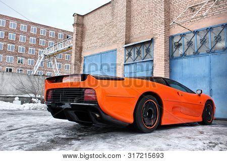 January 3, 2013 - Kiev, Ukraine. Jaguar Xj220 (1991). Hypercar. Winter. Cold. Snow. Exotica
