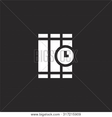 Time Bomb Icon. Time Bomb Icon Vector Flat Illustration For Graphic And Web Design Isolated On Black