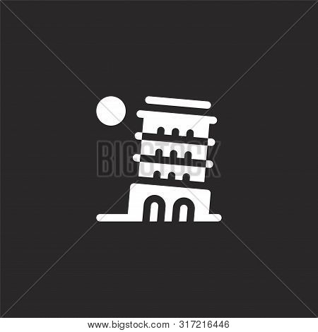 Leaning Tower Of Pisa Icon. Leaning Tower Of Pisa Icon Vector Flat Illustration For Graphic And Web