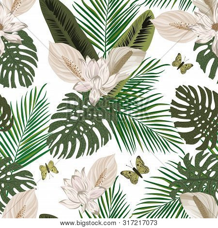 Pastel Color Lily Flowers Background Of Green Palm, Banana, Monstera Leaves Trendy Hand Drawn Style